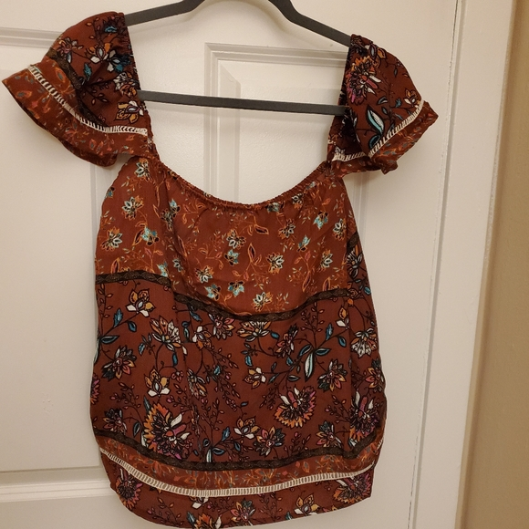 Lily White Tops - *BROWN FLORAL** Off the shoulder top